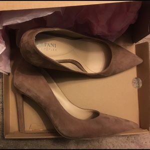 Tan pointed toe pumps